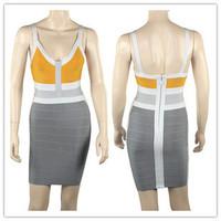 2015 Spring New Arrival European Brand HL Bandage Dress Low Cut V-Neck Patchwork Bandage Prom Dress