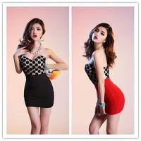Sexy Club Dress 2014 Strapless Wrap Dress Polka Dot Mini Women Dresses Excellent Elasticity Black&Red Free Shipping