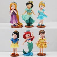 Free shipping 6pcs/lot Princess pvc figure doll Cinderella Snow White Rapunzel Mermaid Ariel Jasmine Belle baby princess toy