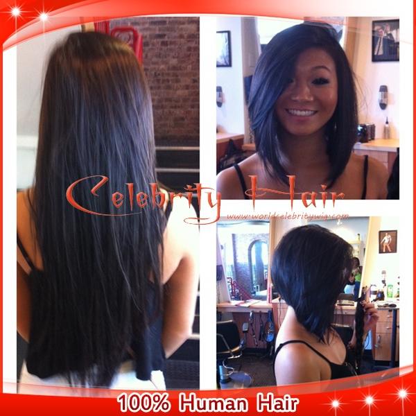 Upart peruca não transformados brasileiro virgem do cabelo humano U parte perucas 150% densidade curto Bob Natural direto parte lateral direita nenhum Lace(China (Mainland))