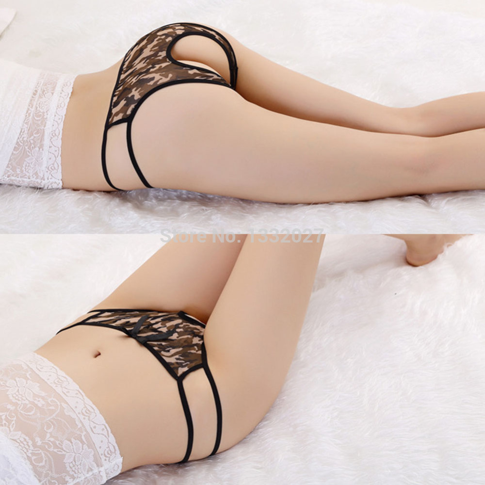 Female Women Ice Silk Hipster Open Crotch But Lifter Leopard Sexy Intimates Underwear Lingerie Panties Thong G String Hot Sale(China (Mainland))