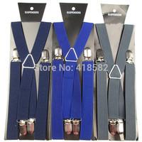 BD002-- 5pcs/lot Hot sale 4 clips X-back  Men's suspenders 2.5 cm  elastic  suspenders free shipping