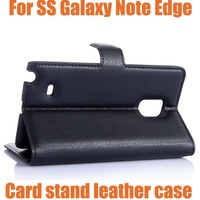 10x For Samsung Galaxy Note edge leather case cover,New 2014 PU Lychee luxury flip leather wallet stand phone case cover