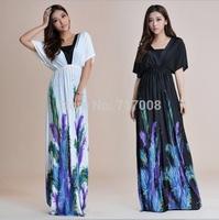 Roupas Femininas 2014 Vestido de festa Atacado roupas femininas Plus Size 6XL Robe Longue Print Dresses vestido longo estampado