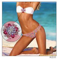 2015 New Fashion Women Flower Crystal Bikini Set Summer Printed White Diamond Sexy Bikinis Swimwear Beach Swimsuit