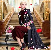 2014 New Winter Elegant Women's X-Long Trench Coat Plus Size 3XL 4XL Overcoat Long Sleeve Floral Print Maxi Dress Coat Outwear