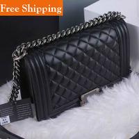100% Sheepskin Handbag Le Boy Plaid Vintage Chain Bag Leboy Cc Chain Logo Shoulder Bag Hot 2014 Celebrity Women'S High Quality