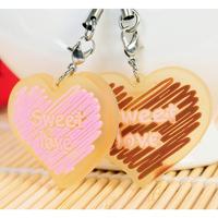 Free shipping HS050 Cute lovers phone pendant sweet heart design  key chain 2pcs/pack 4*3.5cm