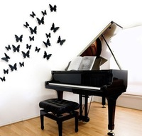 Free Shipping 12pcs 3D Butterfly Wall Stickers Butterflies Docors Art DIY Decorations Paper