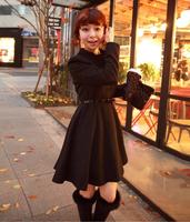 2014 Hot Women thicken Korean Style Sweet Elegant Cute Fashion Style Korean High QualityPleated Skirt Hem Wool Long Coat