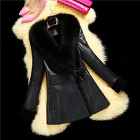 factory 2015 new style high-end women's fashion long genuine sheep leather with fur coat ,long suede leather jacket