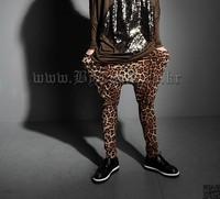 punk style men's 2015 new arrival skinny leopard harem pants