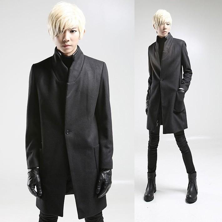 ... Cool Korean man Slim woolen coat fashion personality tide men trench