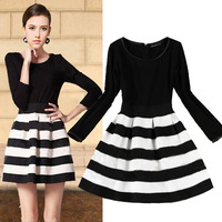 2014 New Women's Fashion High Quality O-Neck Slim Style Knitted Patchwork Dress Long Sleeve Stripe Dress For Women Autumn G9145