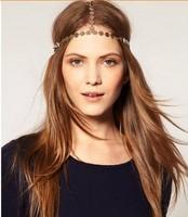 2014 Celeb Bohemia Women Crown Hair Cuff Head Chain Gold Sequins Headband Hairband Headpiece Hari Accessory Accessories Retail