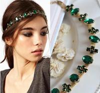 2014 New Women's Lady's Hair Accessory Green Crystal Gold Metal Headband Ring Hair Band Hairwear