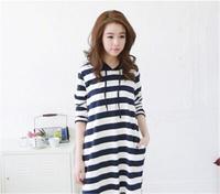 2013  Women's  Free Shipping  Popular Korean New Fall Fashion New Fall Korean Style Casual Fashion All-match Ladies Dress Stripe