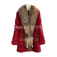 New Arrival exported natural rabbit fur coat with a raccoon dog fur collar 100% natural real fur