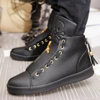 2014 men's genuine leather casual shoes fashion shoes unique cowhide high skateboarding shoes zipper shoes lazy