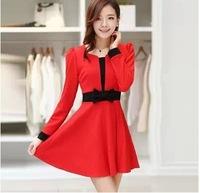 2014 Women Autumn Winter Warm Dress Casual Sweet Bow Design Hit Color Slim Dresses Long Sleeve Fashion Hot SPS42