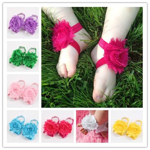 1 пара/лот новорожденного цветок босиком сандал