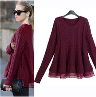 Casual Women's Winter Patchwork Ruffled Bottom Sweater, Fashion Designer Organza Patchwork Knitted Sweater