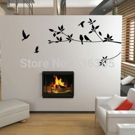set gratis verzending pvc grote vogel en boom muur sticker sticker