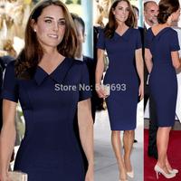Elegant Stylish V Neck Vestidos Knee Length New Fashion Casual Dresses 2015 with Sleeves