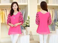 Fashionable loose chiffon big yard shirt Women's half sleeve tops summer lady's shirt Free Shipping 613 AN