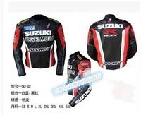 Free shipping Suzuki Motorcycle Racing jacket Men's Leather Jacket SU789