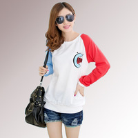 2014 Autumn Spring New Women's Fashion Wild Loose Printed T-Shirt Large Size Women Casual Long-sleeve Cotton Tshirts G538