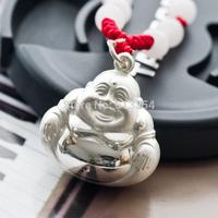 wholesale New good luck Fine 999 Silver happy Buddha Pendant, Buddha Jewelry, Maitreya Pendant, Silver Jewelry