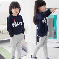 Hot sale Eiffel Tower pattern baby girls clothing set,sport  cotton velvet children sweater pants 2pcs kids clothes conjuntos