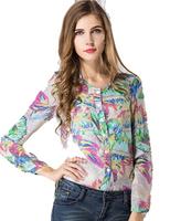 2014 European  American v-neck long-sleeved shirt printed chiffon shirt was thin