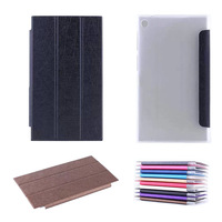 """HF Slim Folding 3-Folders Leather + Clear Back cover Skin For ASUS Memo Pad 7 me572C/CL 7"""" Tablet"""