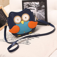 Fashion bags color block 2014 owl small bag color block women's bags messenger bag