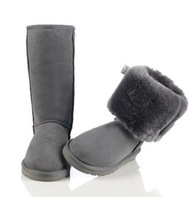 Hot sale  2014 New Women lady australia high genuine Leather Snow warm winter button Boots motorcycle first walker Shoes