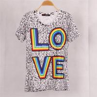High quality Fashion Women Colorful Rainbow LOVE  Printed T shirt Blusas Casual Short Sleeve Leopard T-shirt Tops Plus Size