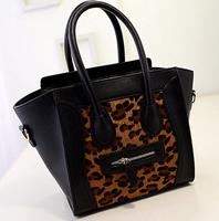 New Leopard Trapeze Handbags Fashion Women Crossbody Bag PU Leather Smiley Tote Bolsas femininas 2015 free shipping