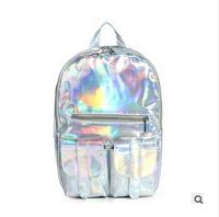 2015 Promotion mochila Laser backpack women Bag leather bag Multicolor large capacity school bag men's Backpack travel bag