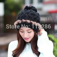 Winter Beanie pom-pom Fur Hats Cap For Women Warm Winter Man Wool Knitted Beanies Free Shipping Women Caps Faux Fur Knitted Hat