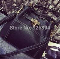 New design fashion charm platinum locks PU Leather handbag lady shoulder bag black bucket messenger bags free shipping