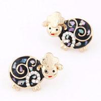 Fashion Design Cute Sheep Earrings Sweet Enamel Earrings For Girl