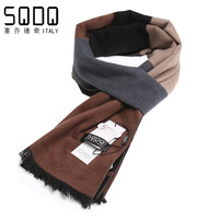 2014 winter quality color block decoration fashion mulberry silk male scarf
