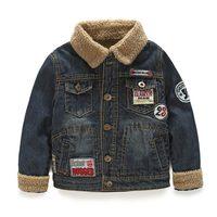 2014 winter fashion boys clothing child berber fleece denim wadded jacket outerwear wt-2989