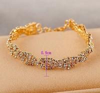 Bracelets Fashion jewelry popular fashion lady shiny cystal chain slivery golden color option