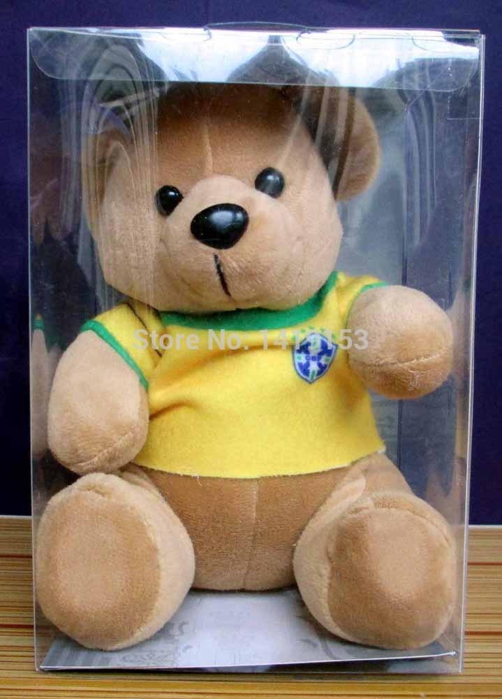 Brazil Brasil National Soccer Team Little Teddy Bear Soft Toy Plush Doll Yellow(China (Mainland))