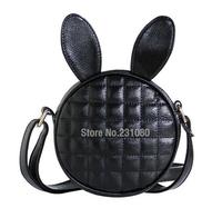 Cartoon Cute Bunny Ears Mini Bag Quilted Shoulder Messenger Bag Fashion Female Round Packet Handbags