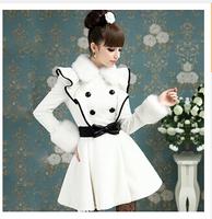 Women's new artificial faux rabbit hair ruffled fur collar falbala collars cloth white woolen coat