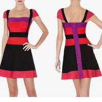 2015 Spring New Arrival European Brand HL Bandage Dress Elegant Slim Patchwork Party Dresses